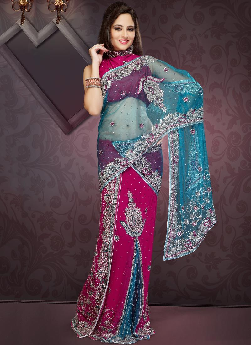 Pink Stones Studded Lehenga Saree