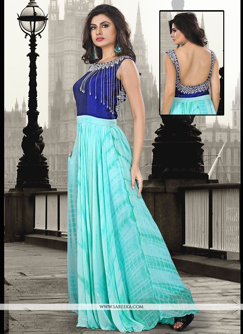 Pure Georgette Embroidered Work Floor Length Gown