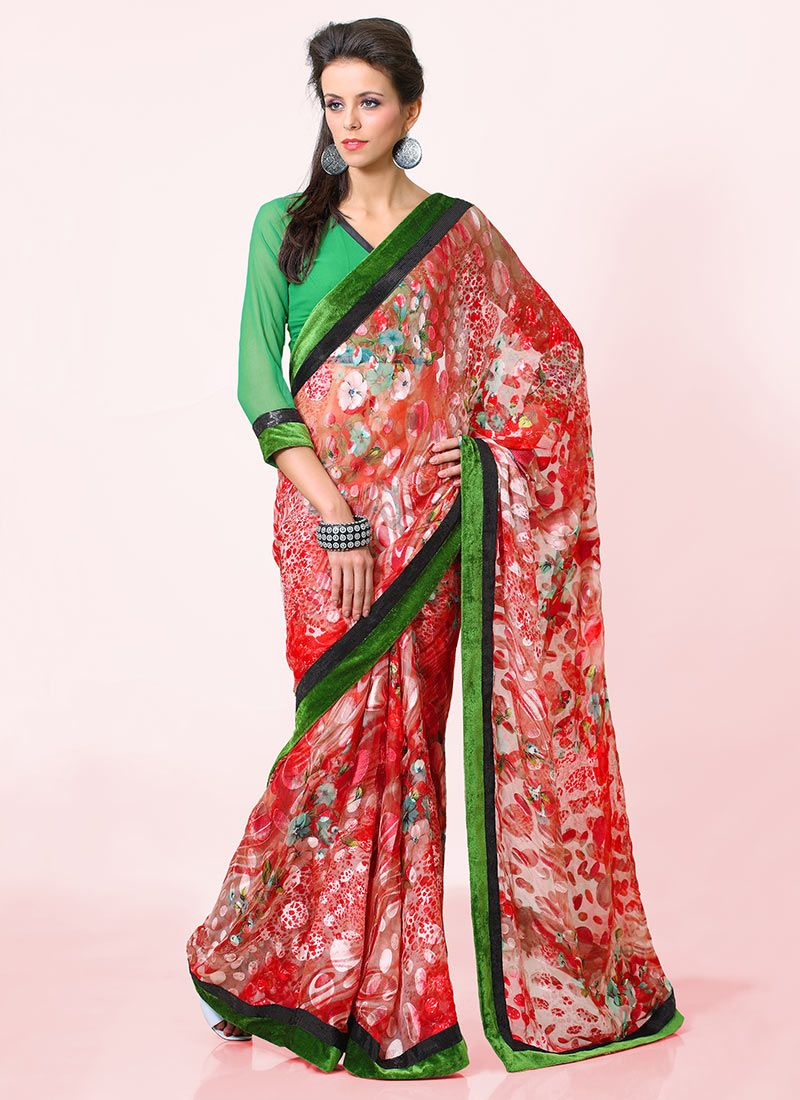 Red And Green Printed Brasso Saree