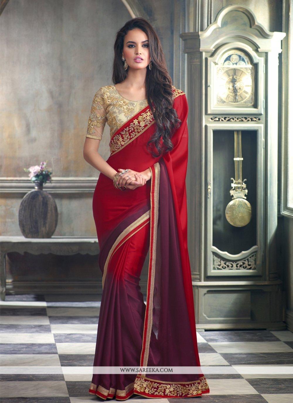 Satin Red Designer Saree