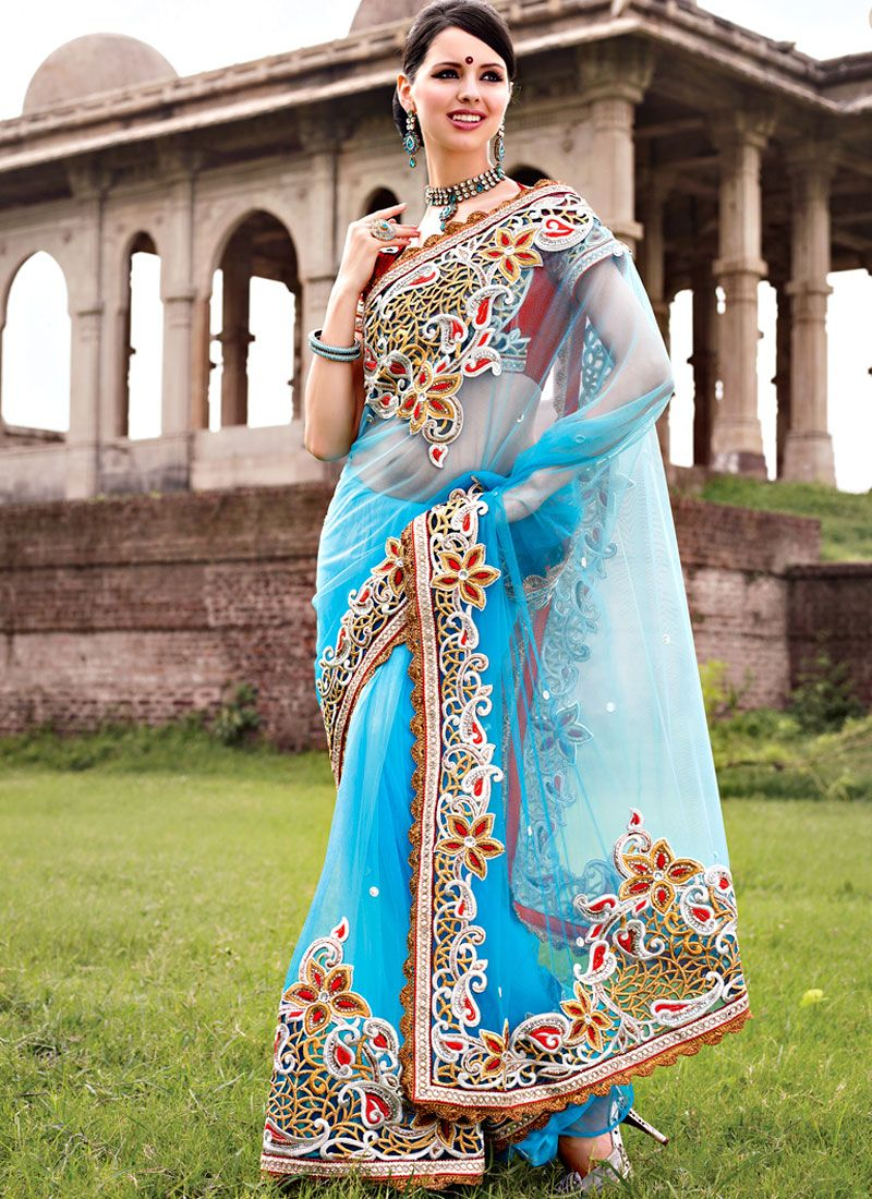 Turquoise Net Cut Work Saree