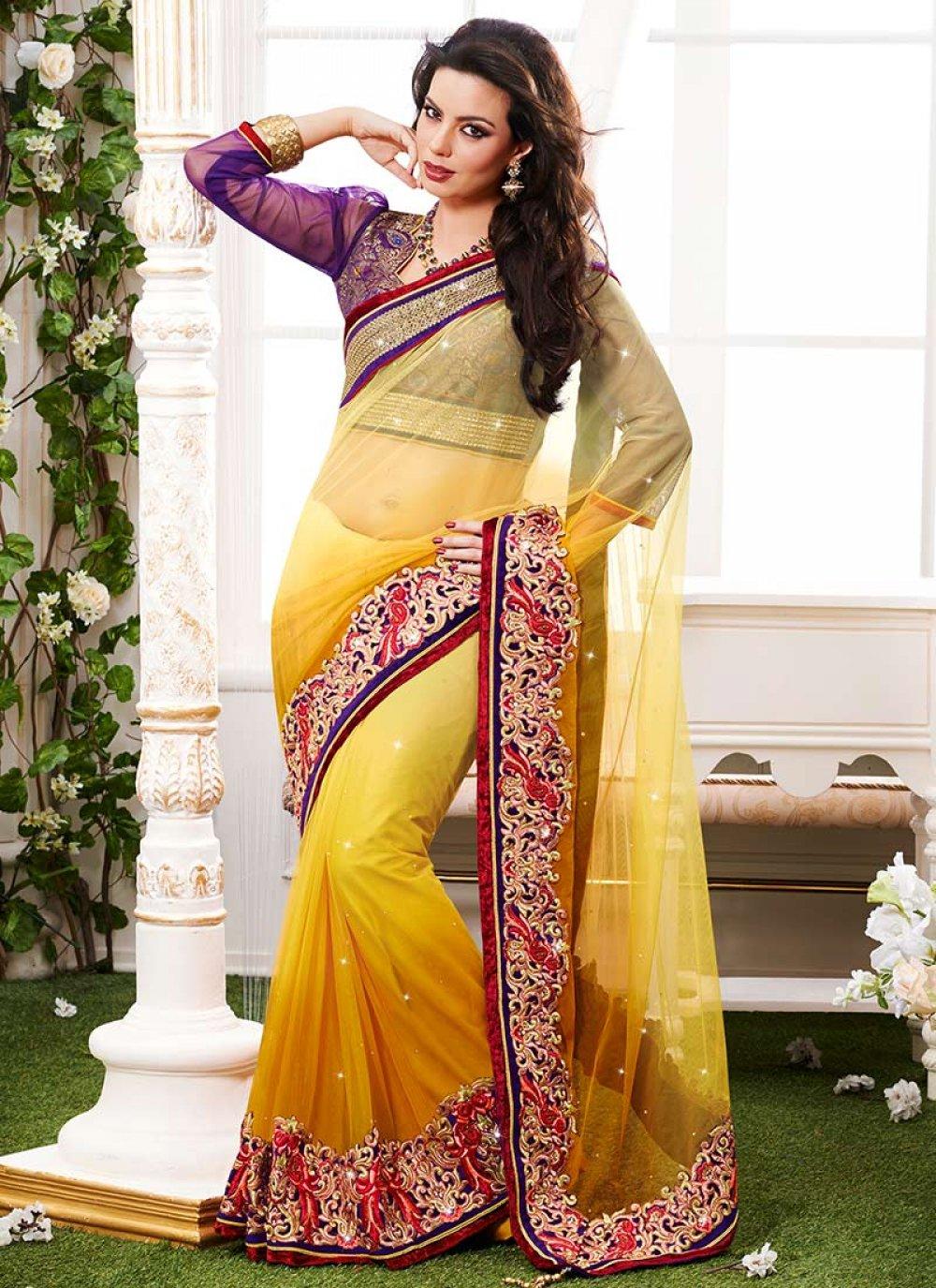 Yellow Crystals Enhanced Net Saree