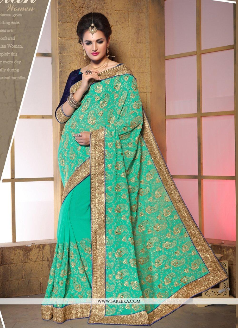 Zari Work Bamber Georgette  Designer Saree