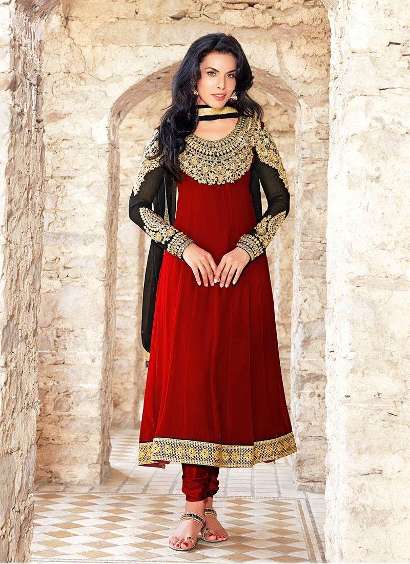 Fabulus Red Resham Work Churidar Suit