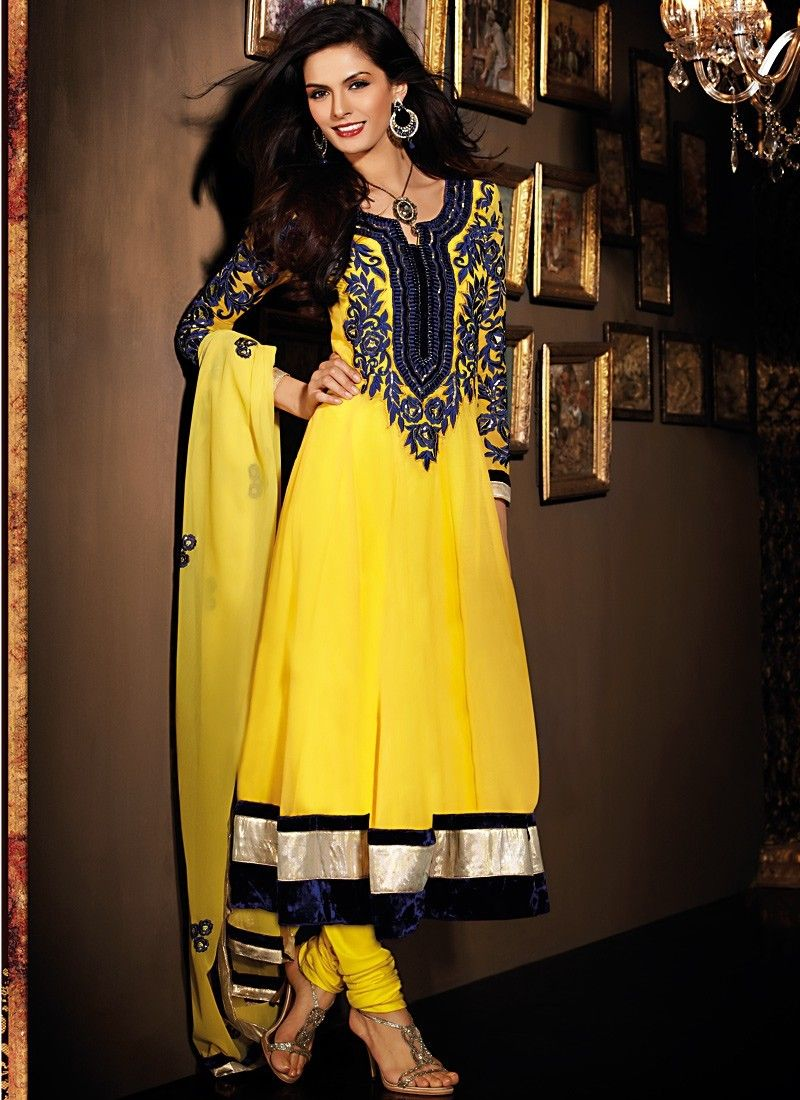 Fancy Black & Gold Color Salwar Kameez