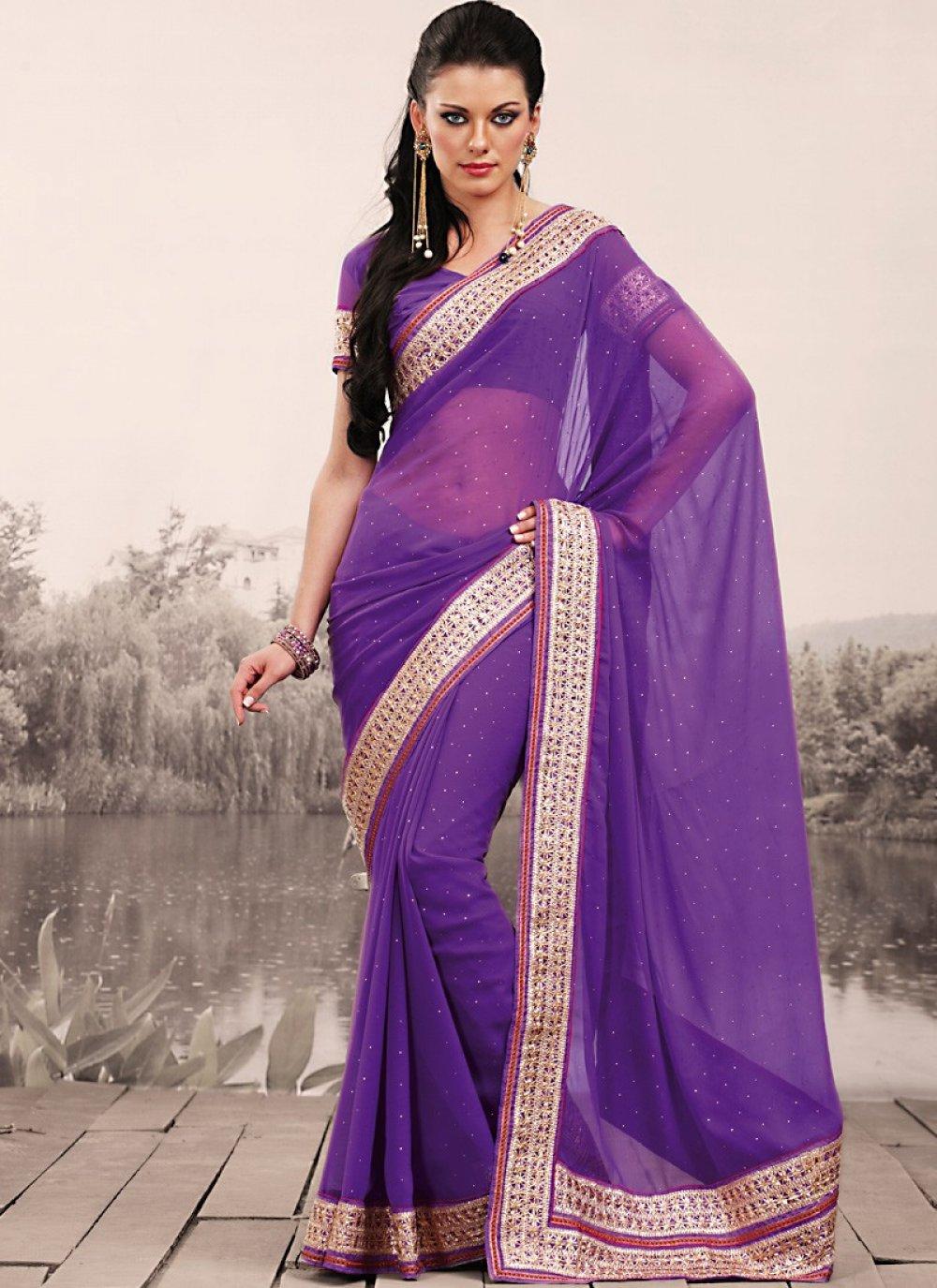 Fancy Bluish Purple Embroidered Saree