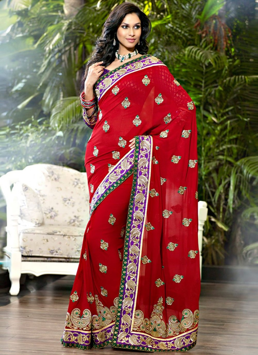 Fancy Crimson & Red Embroidered Saree