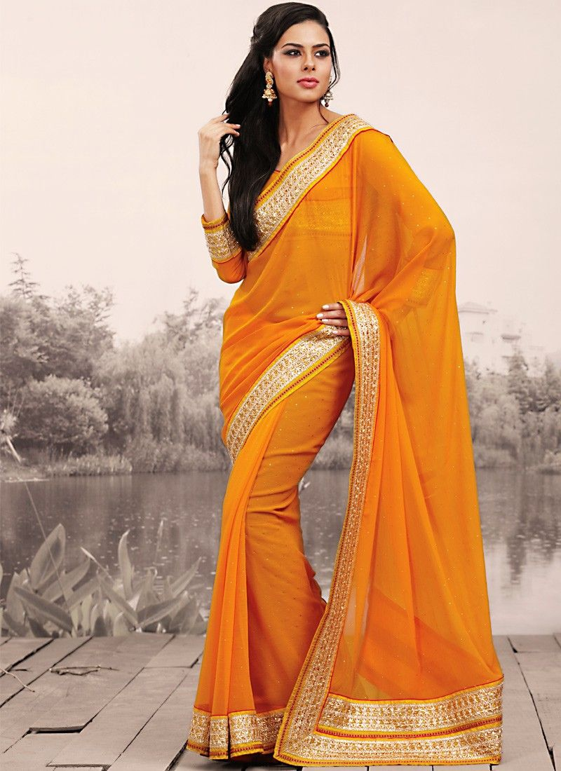Fancy Deep Orange Embroidered Saree