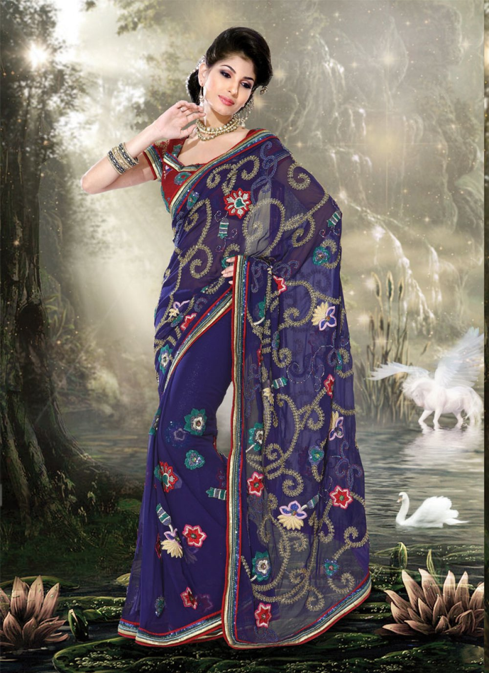 Fancy Navy Blue Embroidered Saree