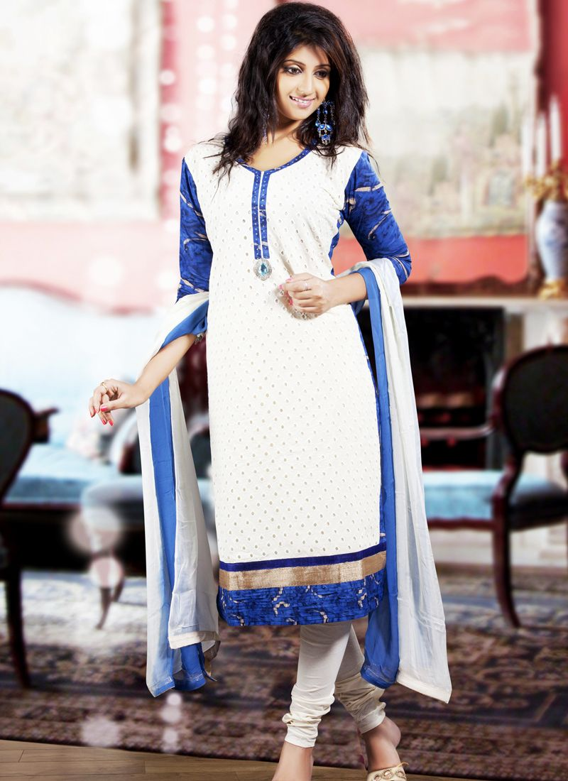 Fancy Navy Blue & White Salwar Kameez