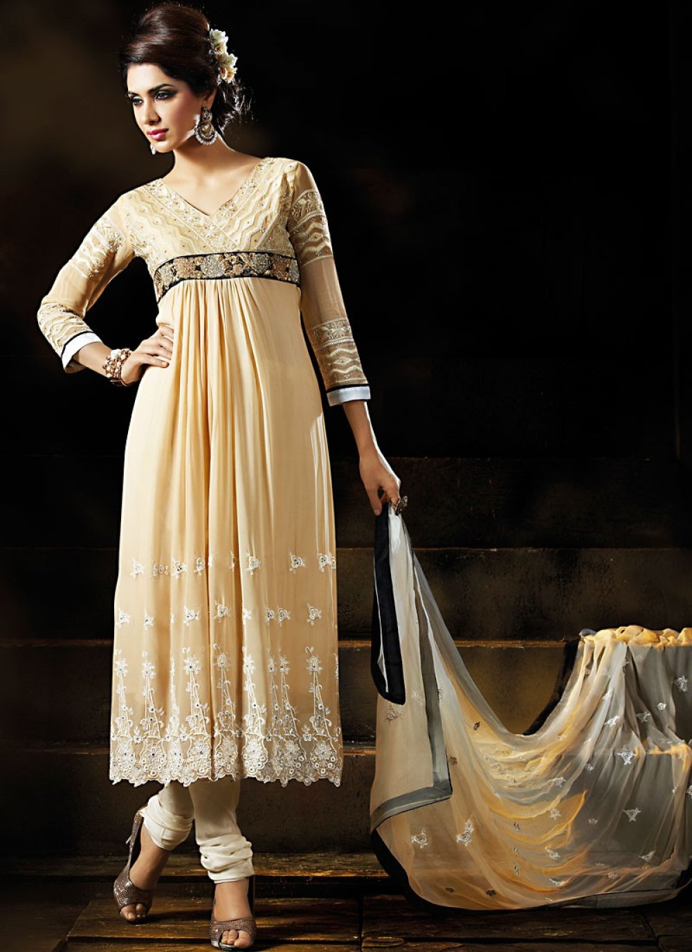 Fancy Pale Bige Brown Anarkali
