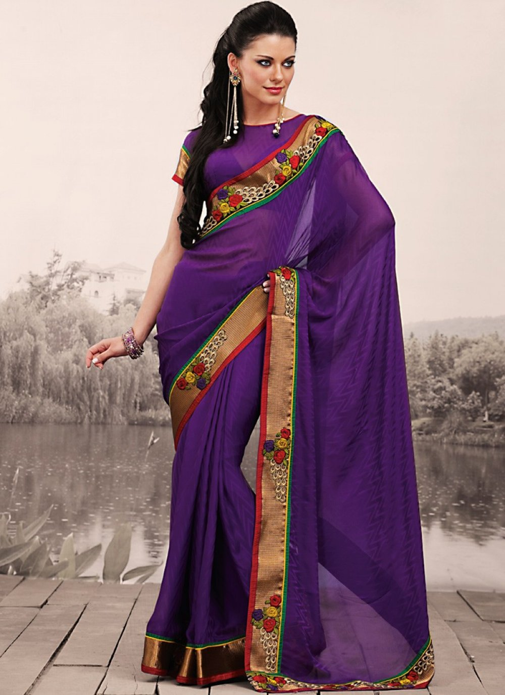 Fancy Purple Embroidered Saree