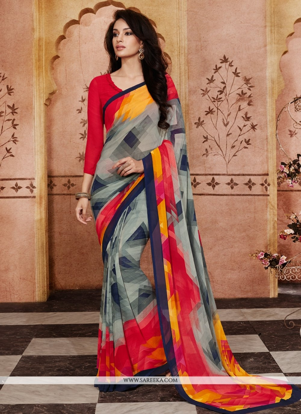 Black and Grey Print Work Georgette Casual Saree