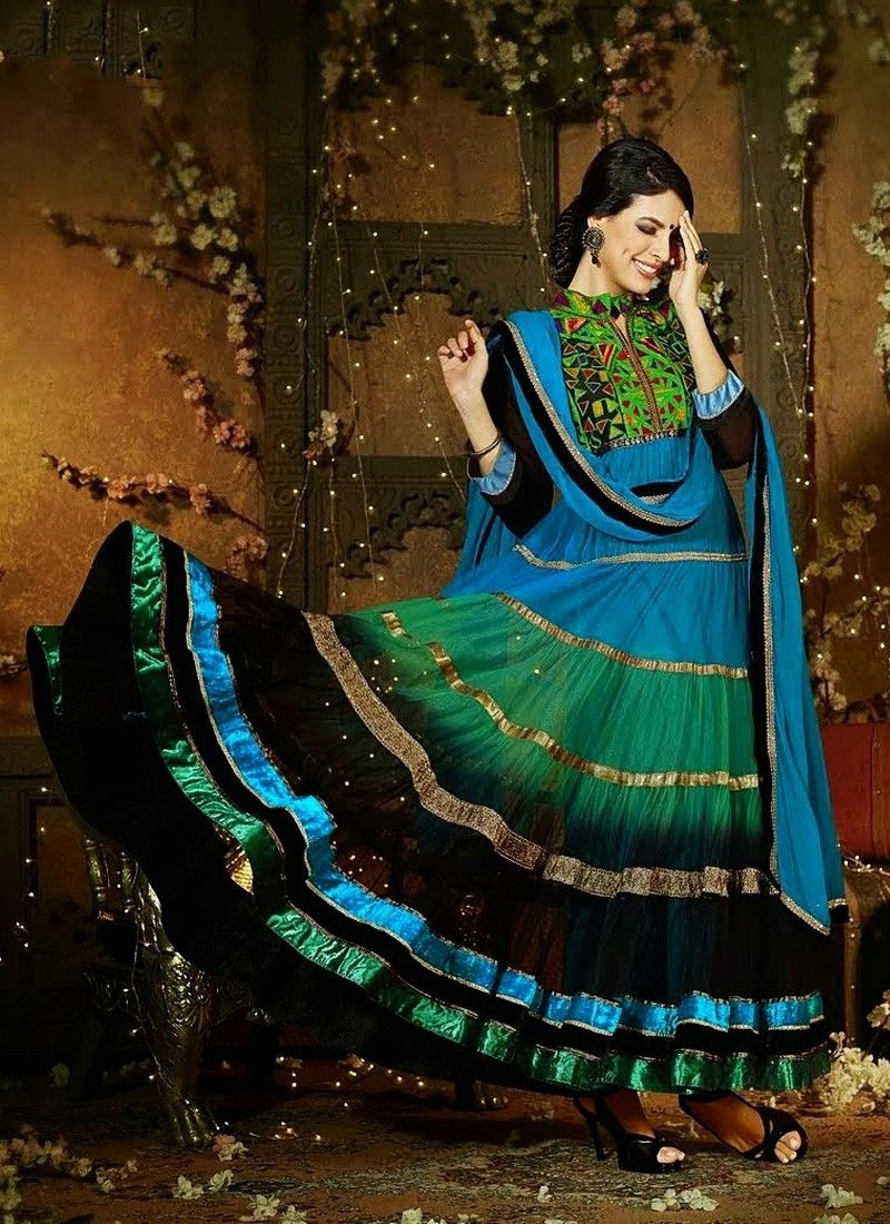 Blue And Sea Green Georgette Anarkali Suit
