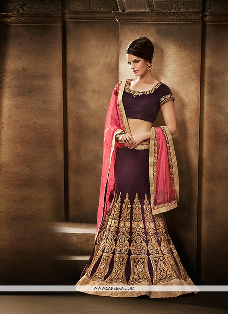 Embroidered Work Wine Net Lehenga Saree