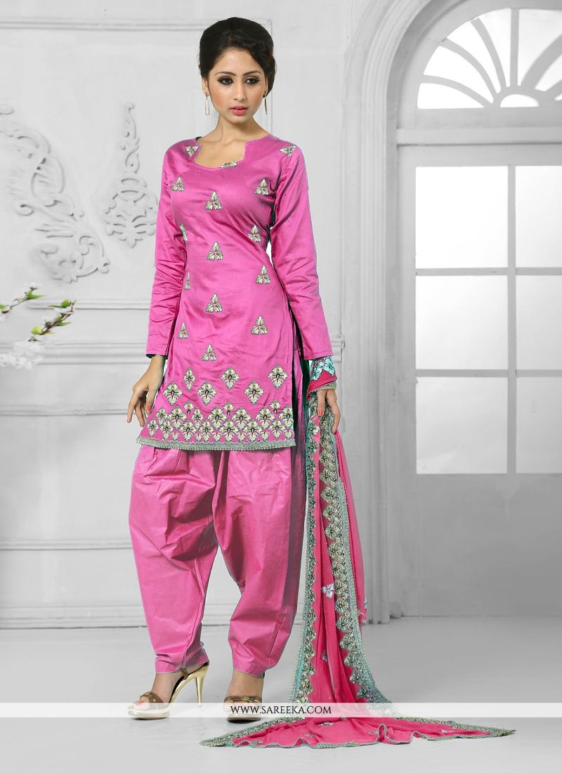 Hot Pink Resham Work Cotton   Designer Patiala Salwar Kameez