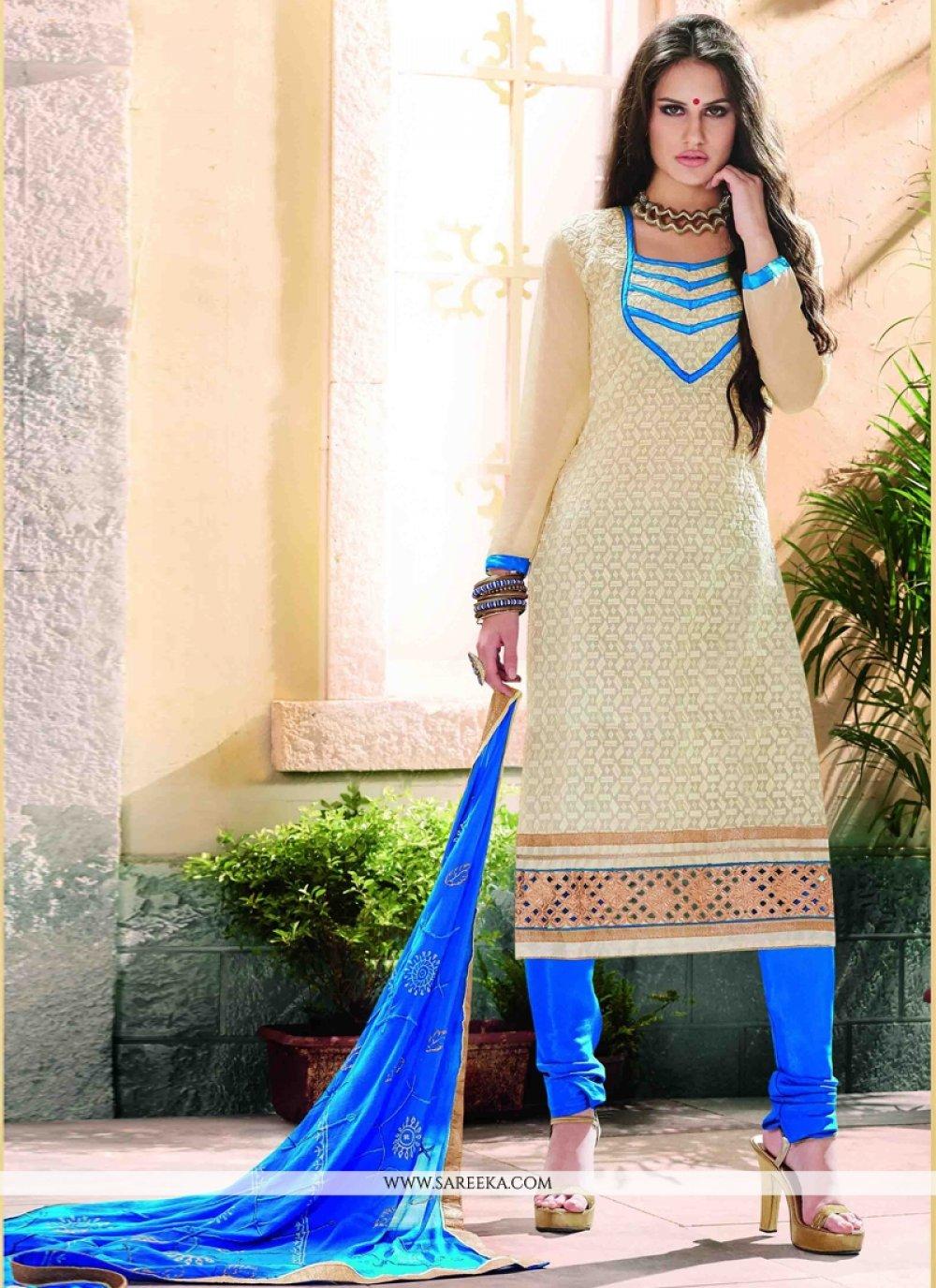 Lace Work Cream Chanderi Churidar Designer Suit