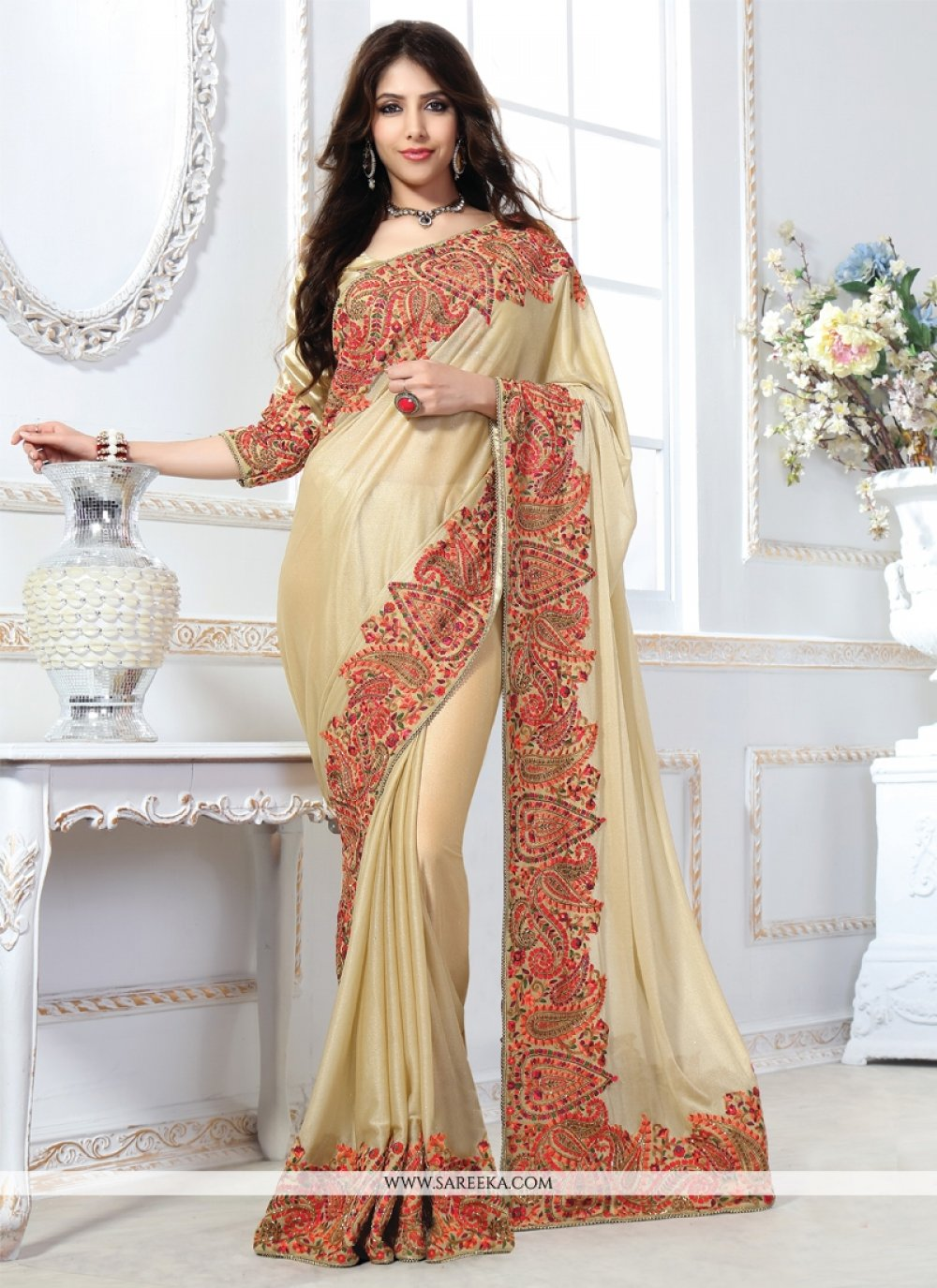 Net Patch Border Work Designer Saree