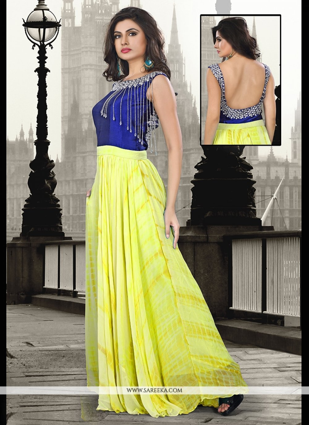Pure Georgette Embroidered Work Yellow Floor Length Gown