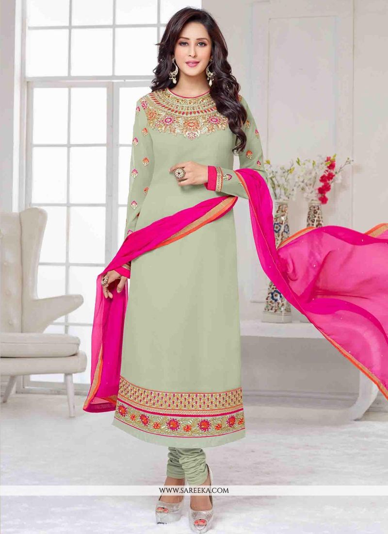 Resham Work Sea Green Georgette Churidar Salwar Kameez