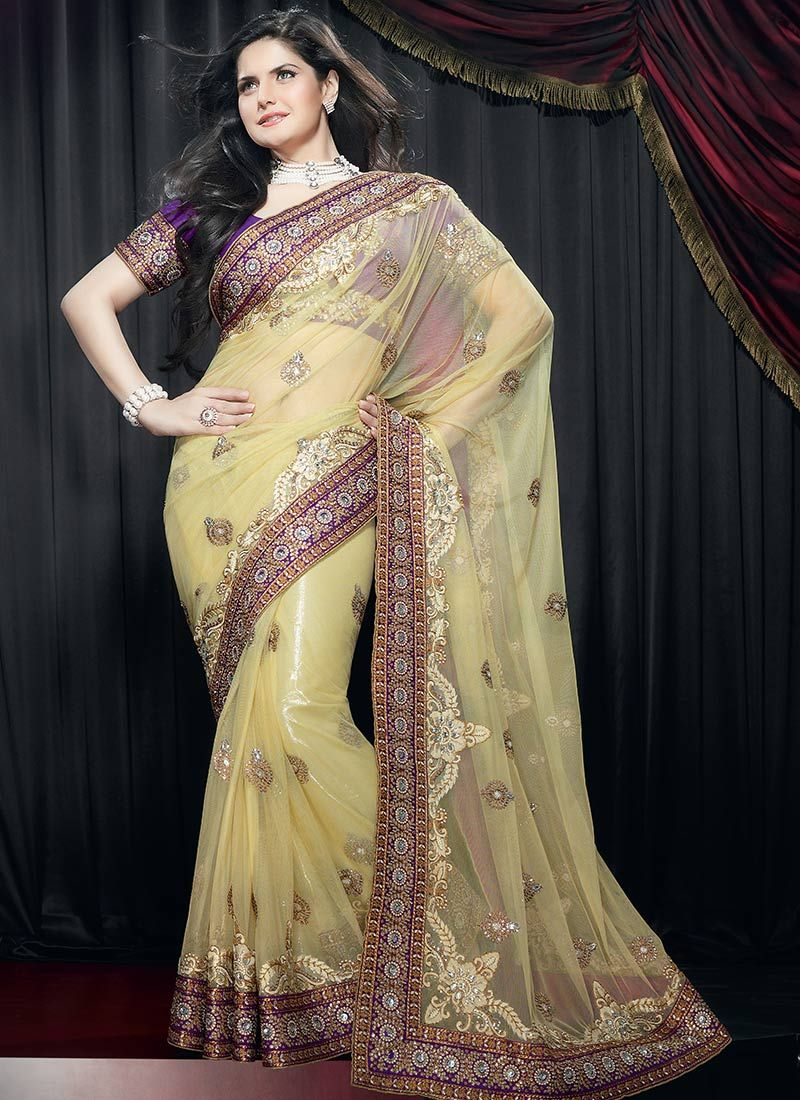 Work Cream Net Saree