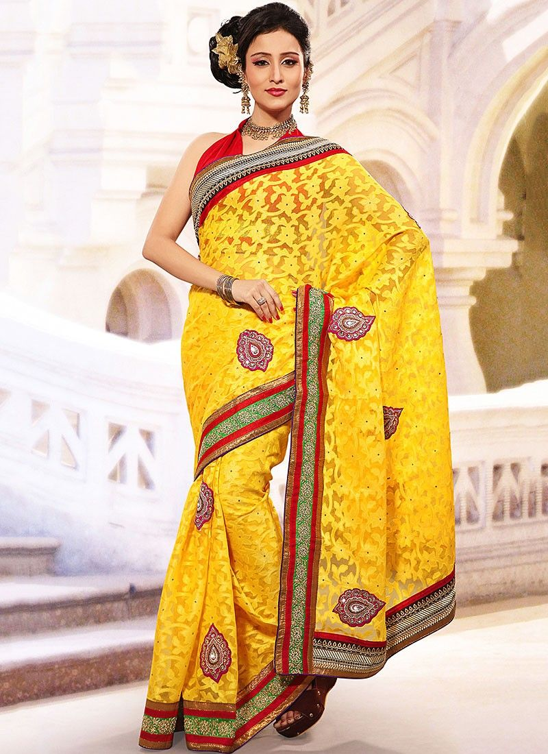 Yellow Net Jacquard Saree