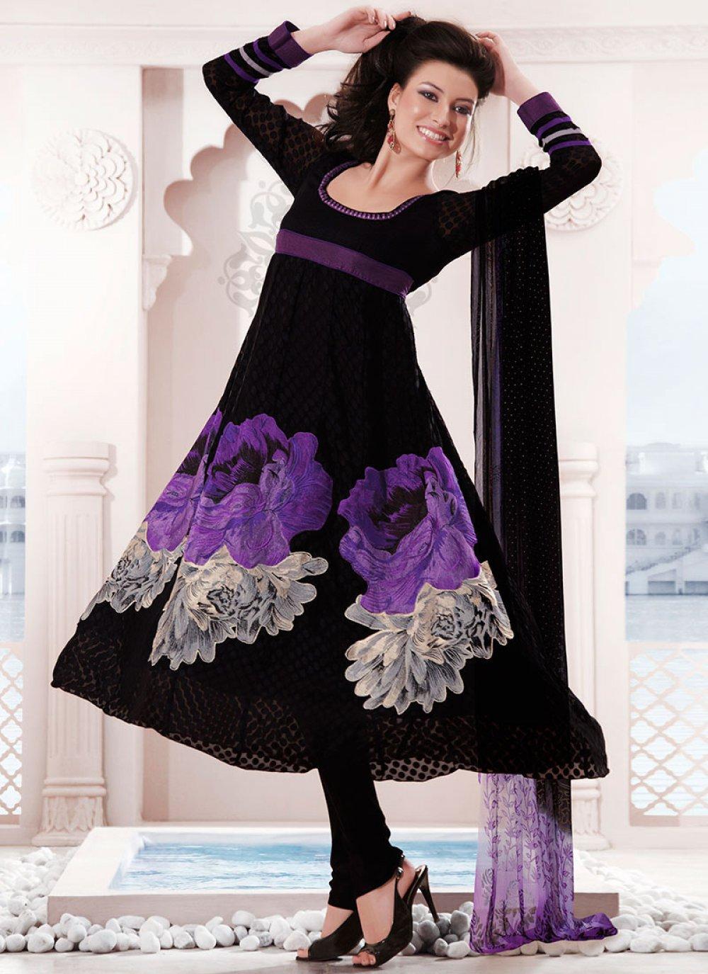 Black Brasso Anarkali Suit