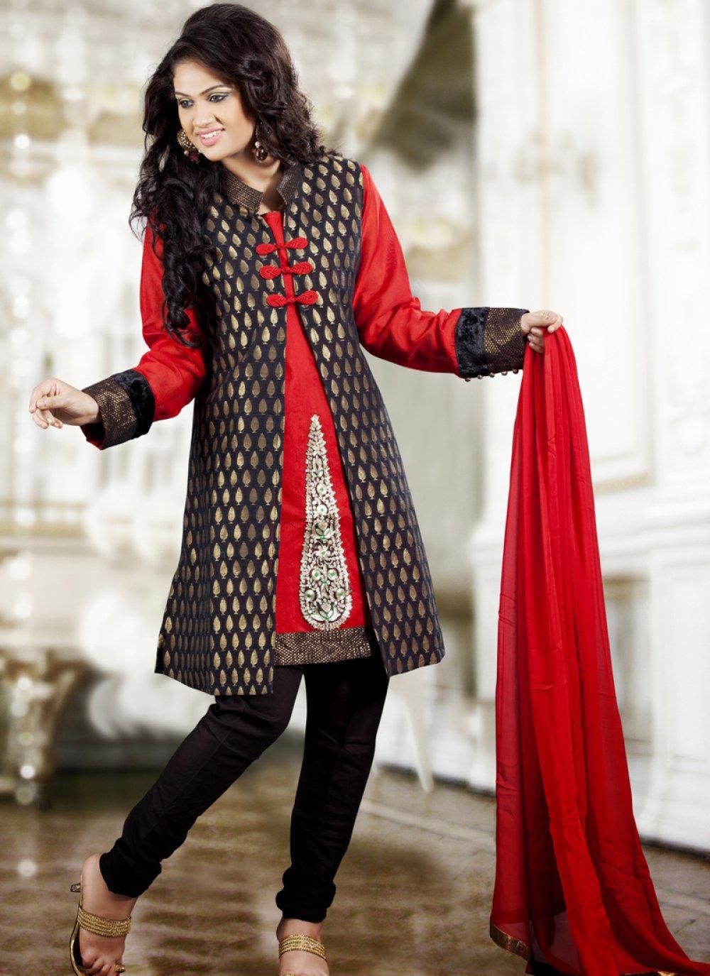 Black & Red Salwar Kameez