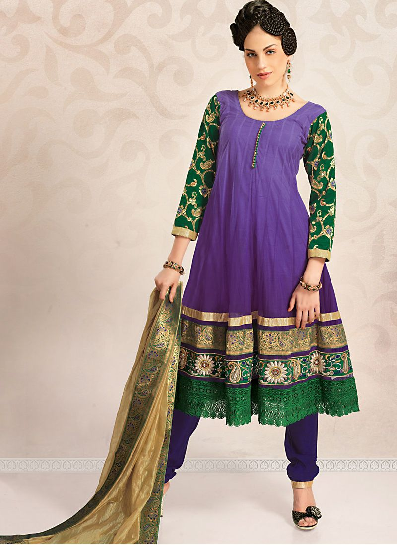 Bluish Purple & Bottle Green Salwar Kameez