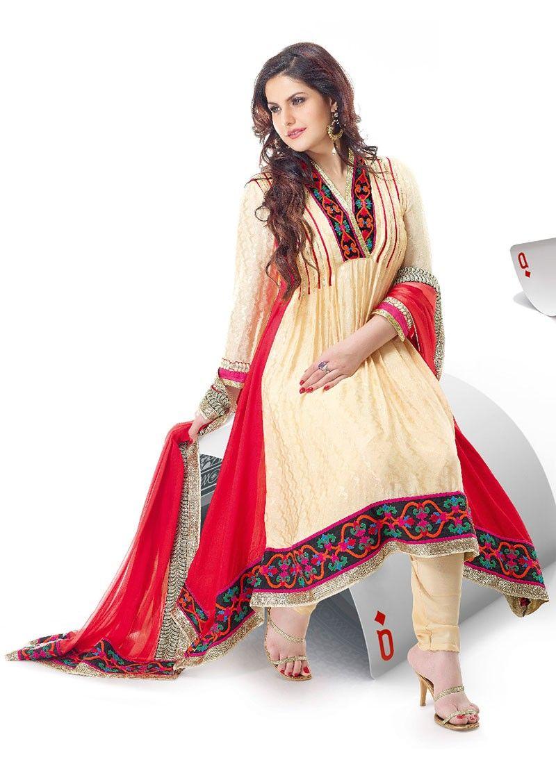 Cream Jacquard Salwar Kameez