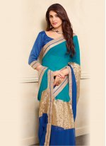 Faux Chiffon Blue and Beige Lace Work Designer Saree