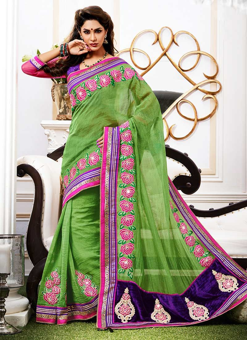 Green Linen Silk Saree