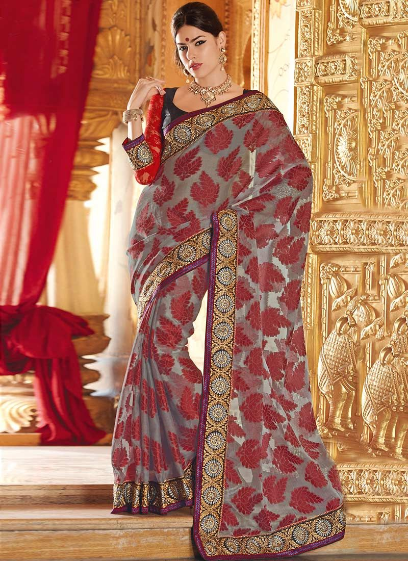 Grey And Maroon Tissue Jacquard Saree