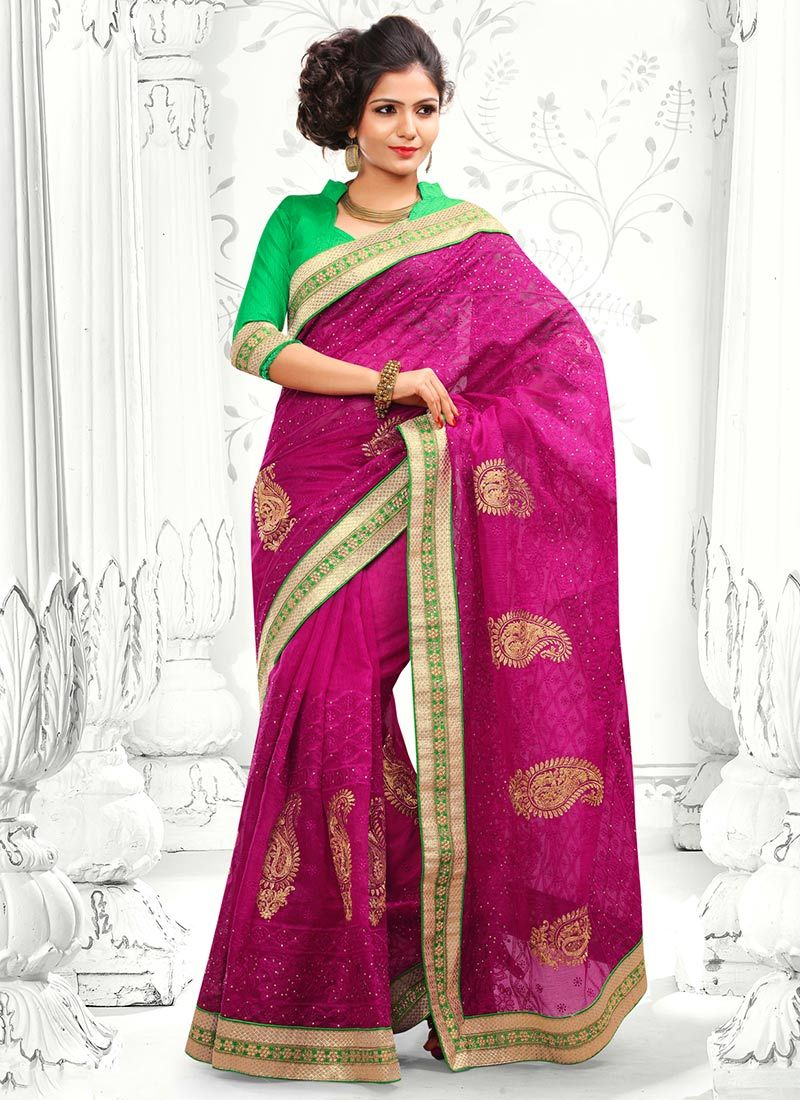 Magenta Embroidery Designer Saree