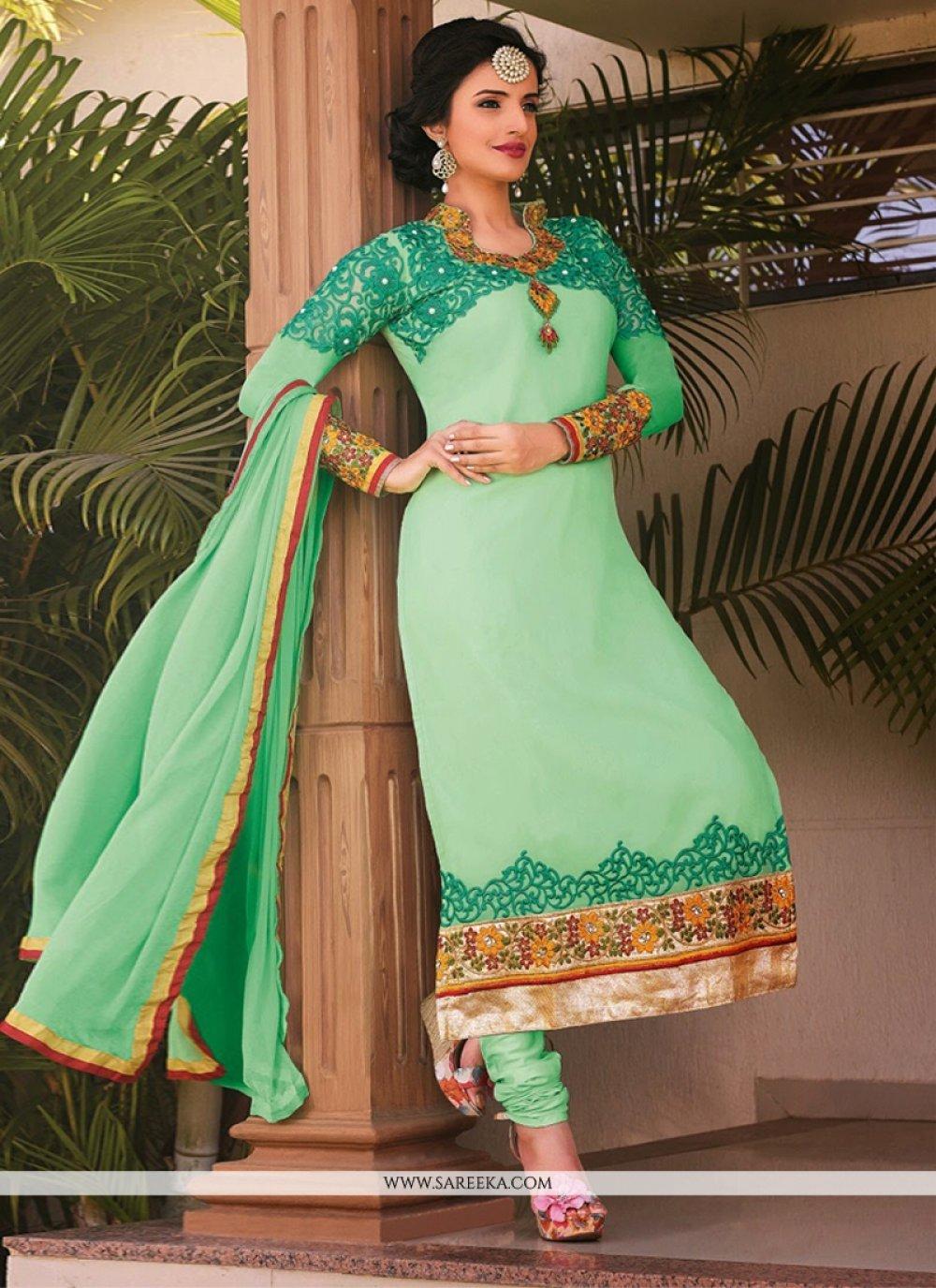Sea Green Georgette Churidar Suit