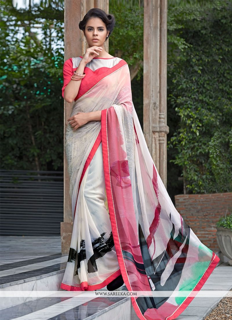 Bamber Georgette  Off White Casual Saree
