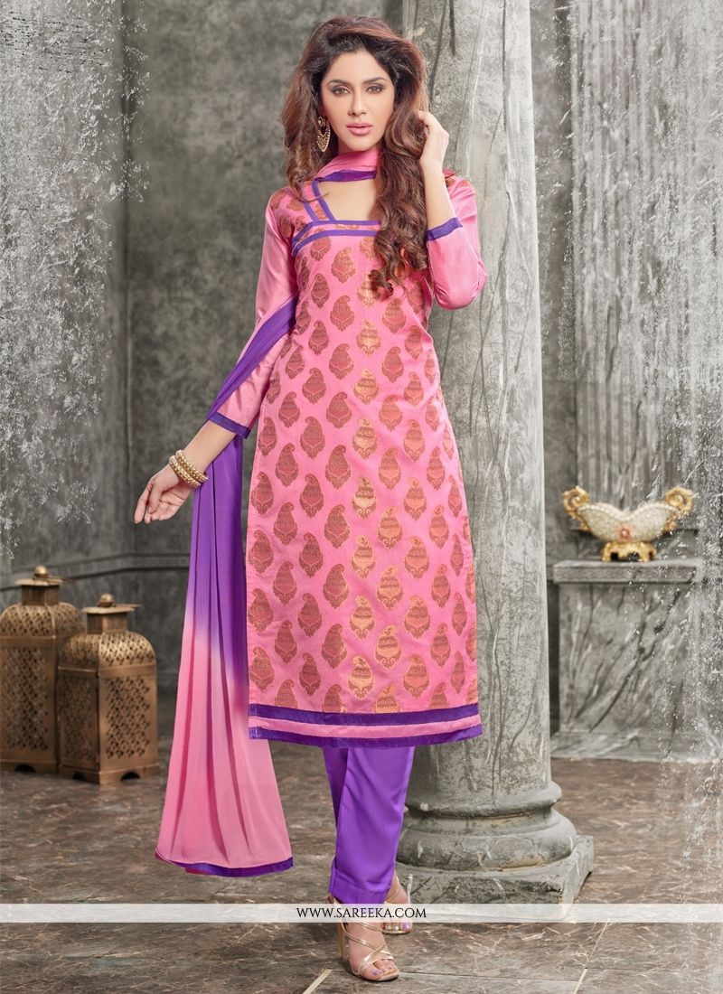 Chanderi Pink Lace Work Churidar Designer Suit