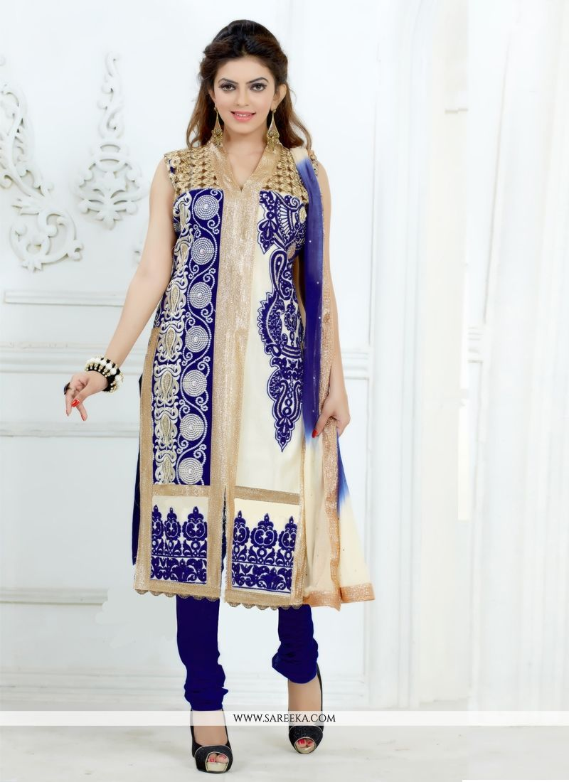 Cotton   Embroidered Work Churidar Salwar Kameez