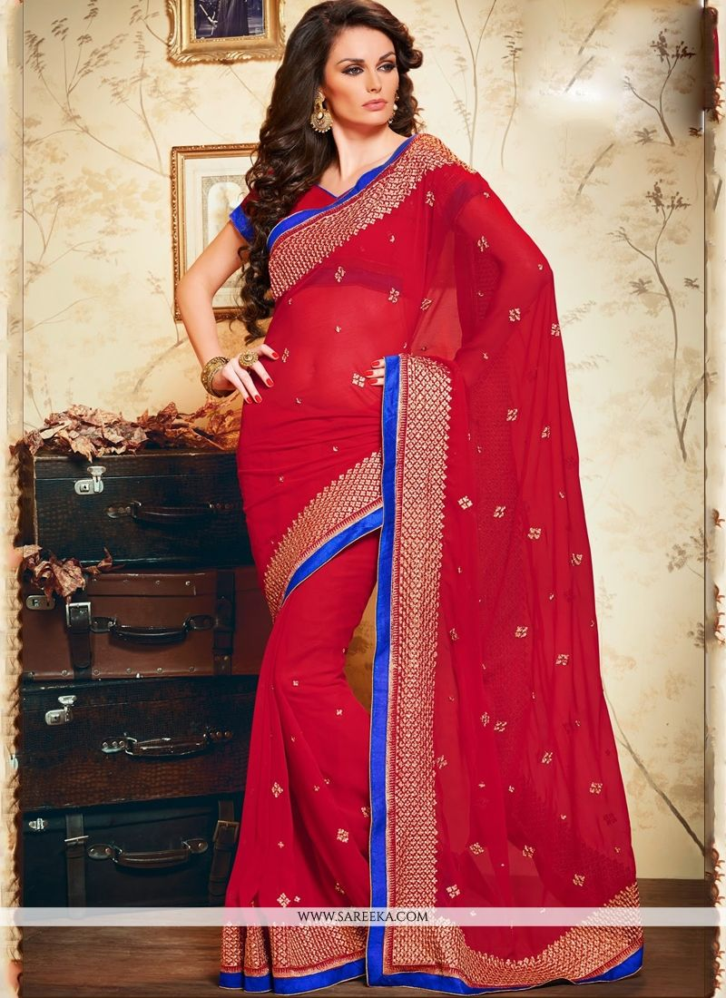 Embroidered Work Red Designer Saree