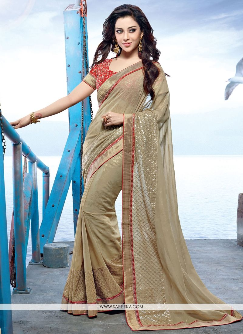 Georgette Beige Embroidered Work Designer Saree