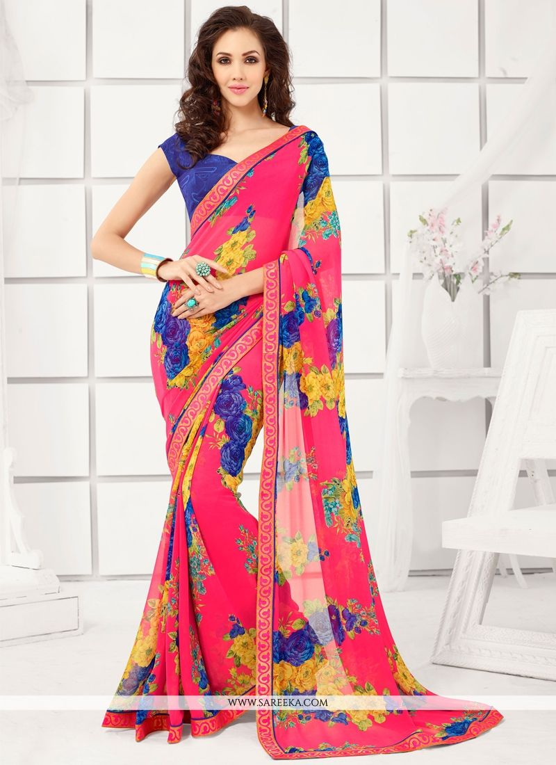Georgette Lace Work Casual Saree