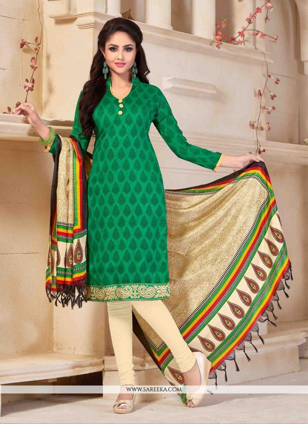 Green Print Work Banglori Silk Churidar Salwar Suit