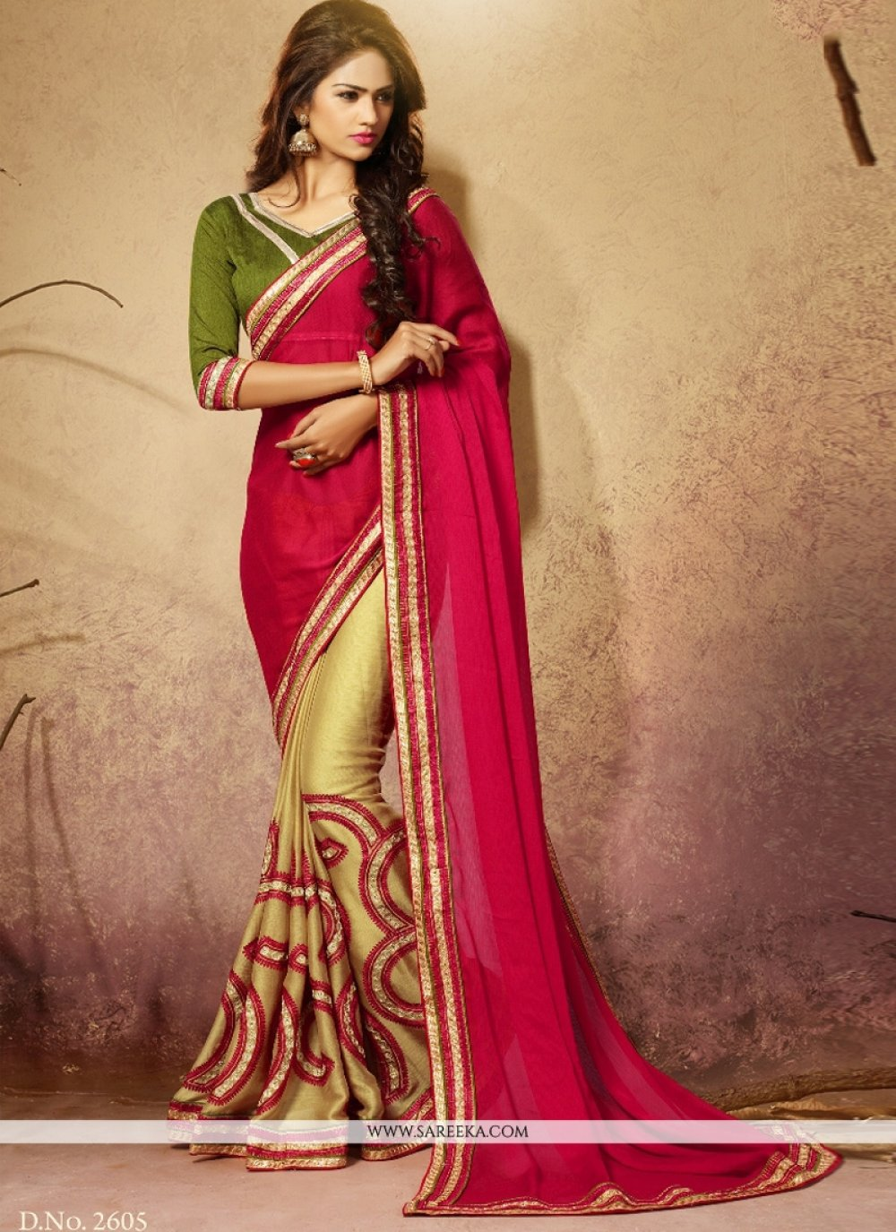 Patch Border Work Georgette Designer Saree
