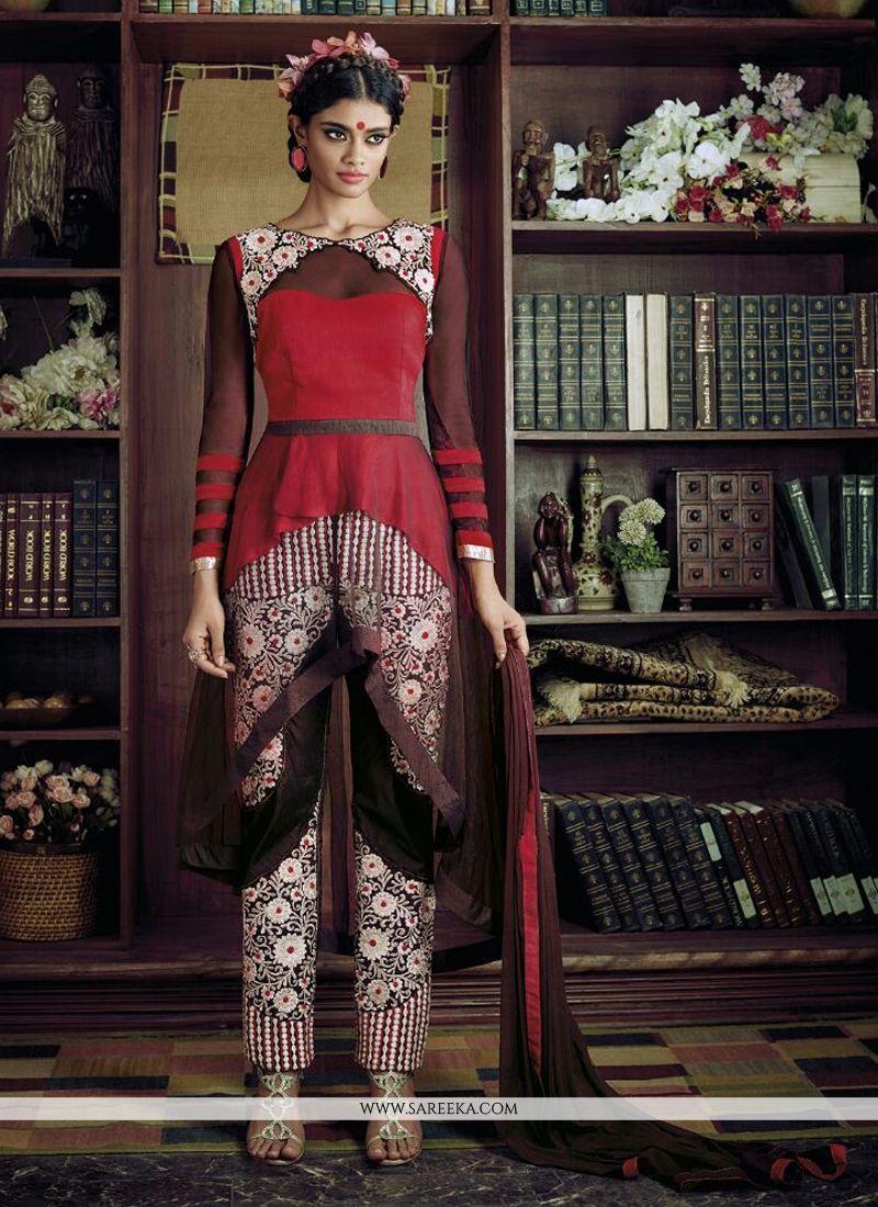 Red Resham Work Georgette Designer Suit