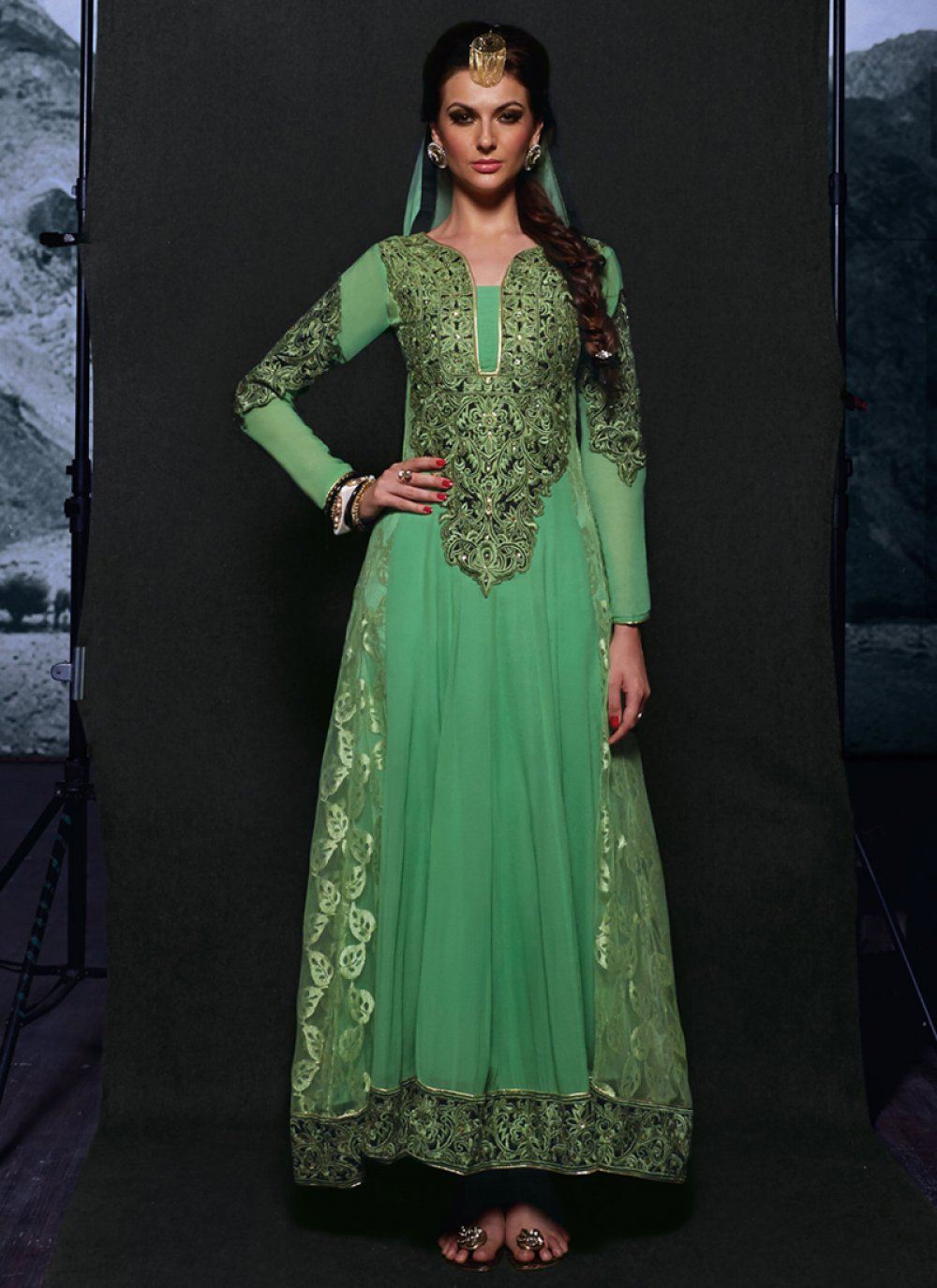 Fashionistic Green Georgette Anarkali Suit