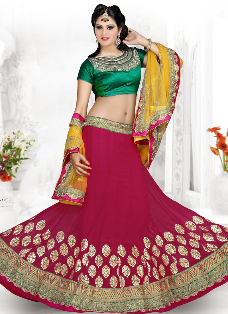 Fashionistic Magenta And Green Embroidery Work Lehenga Choli