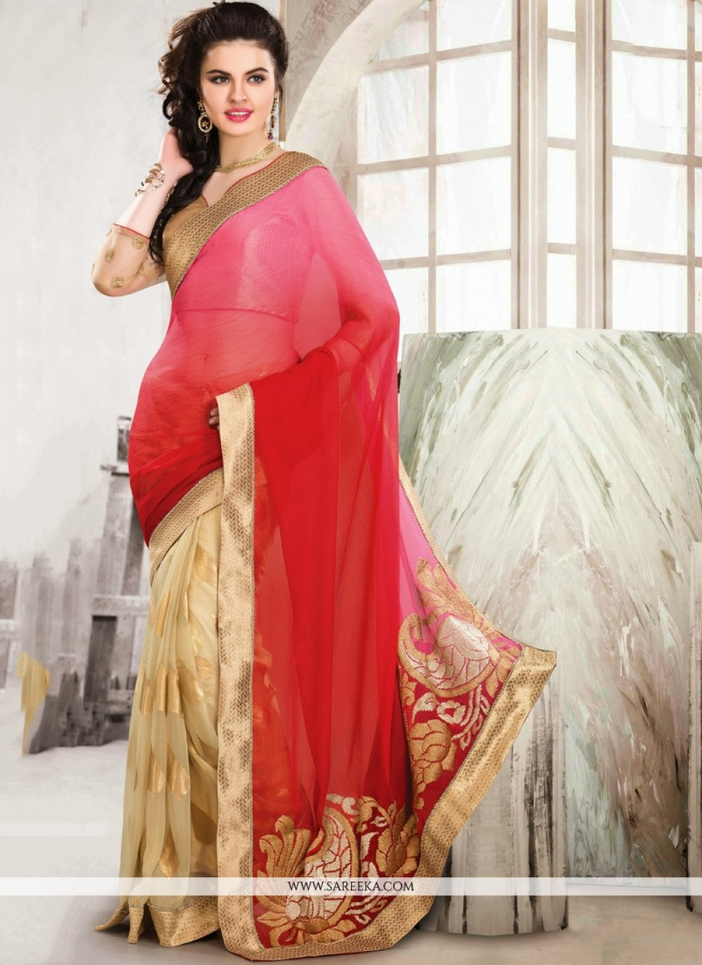 Fashionistic Pink And Cream Chiffon Designer Saree