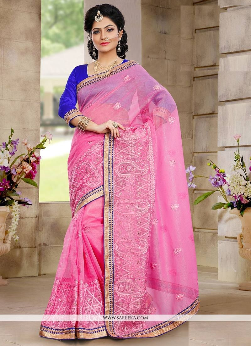 Fashionistic Pink Shaded Net Saree