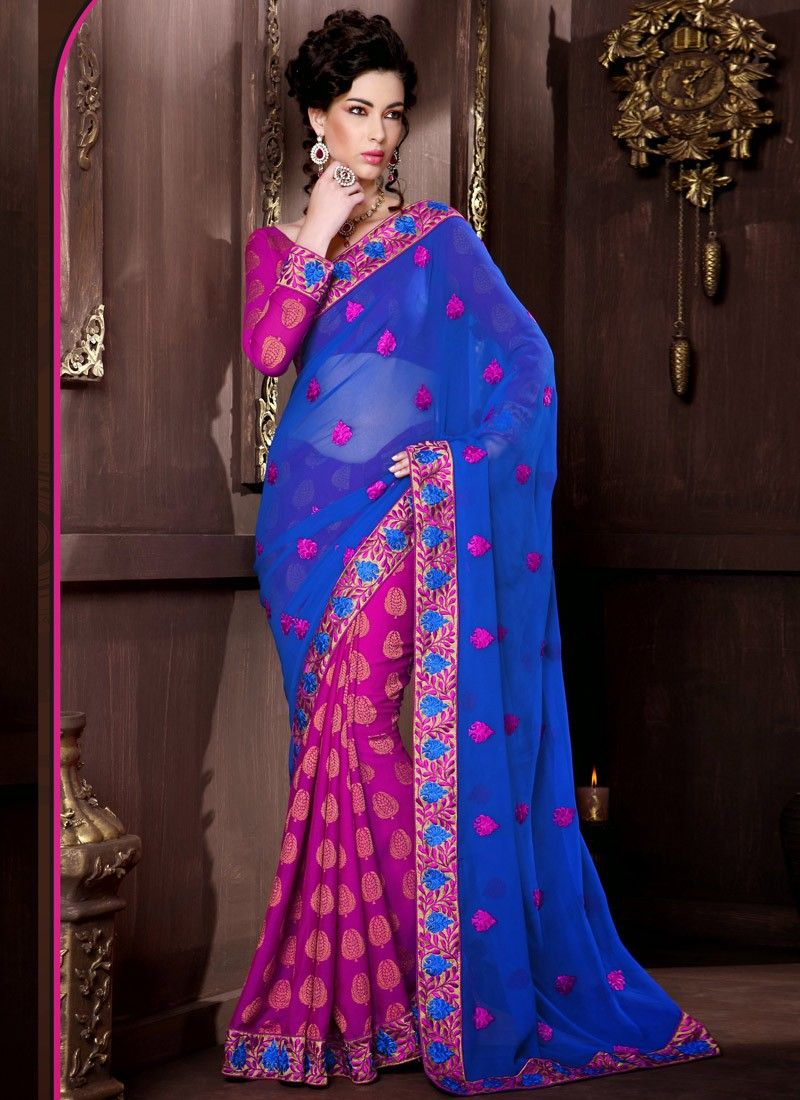 Feb Blue Viscose Half And Half Saree