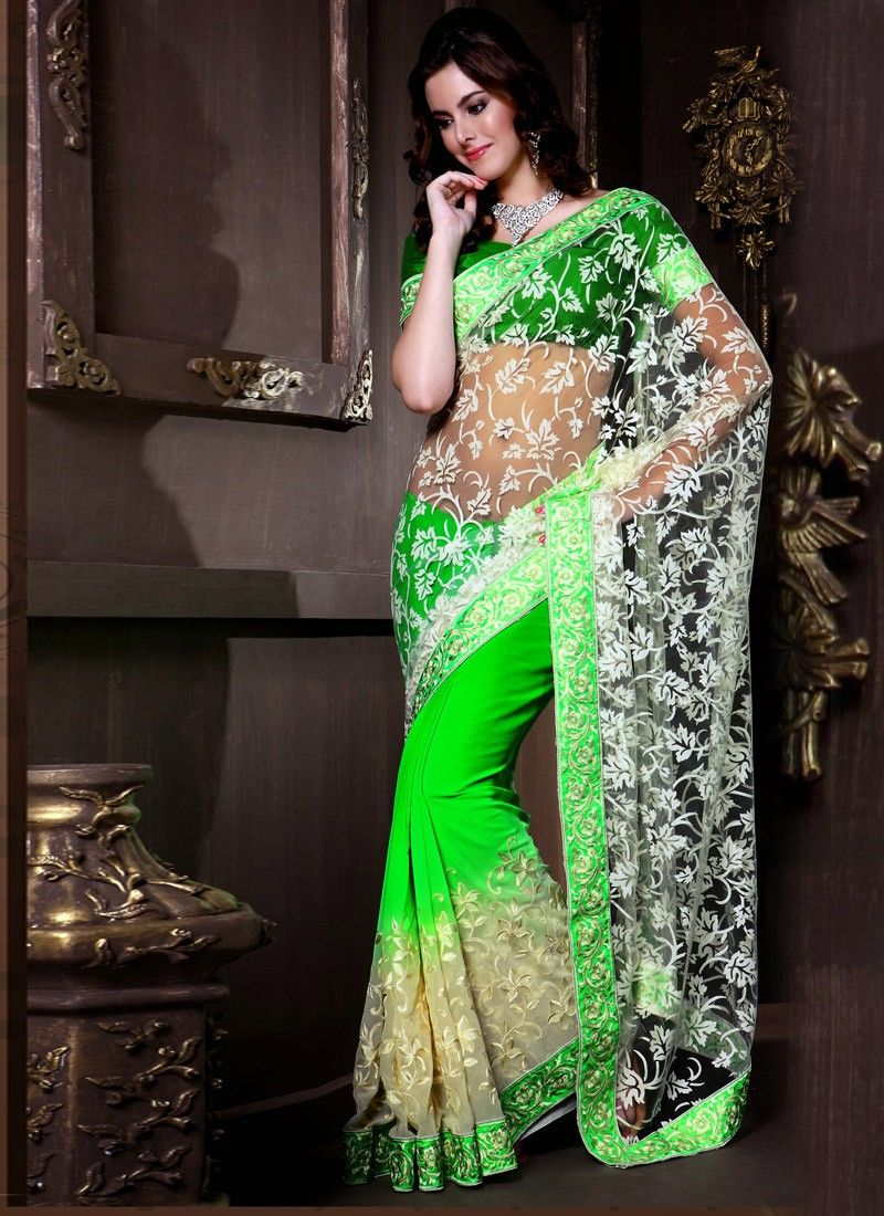 Feb Green And Off White Net Half And Half Saree